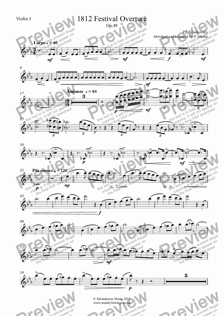 page one of the Violin I part from 1812 Festival Overture Op.49