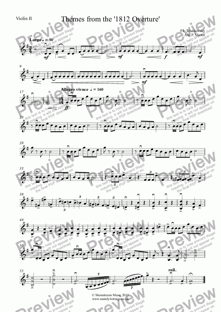 page one of the Violin II part from Themes from the '1812 Overture'