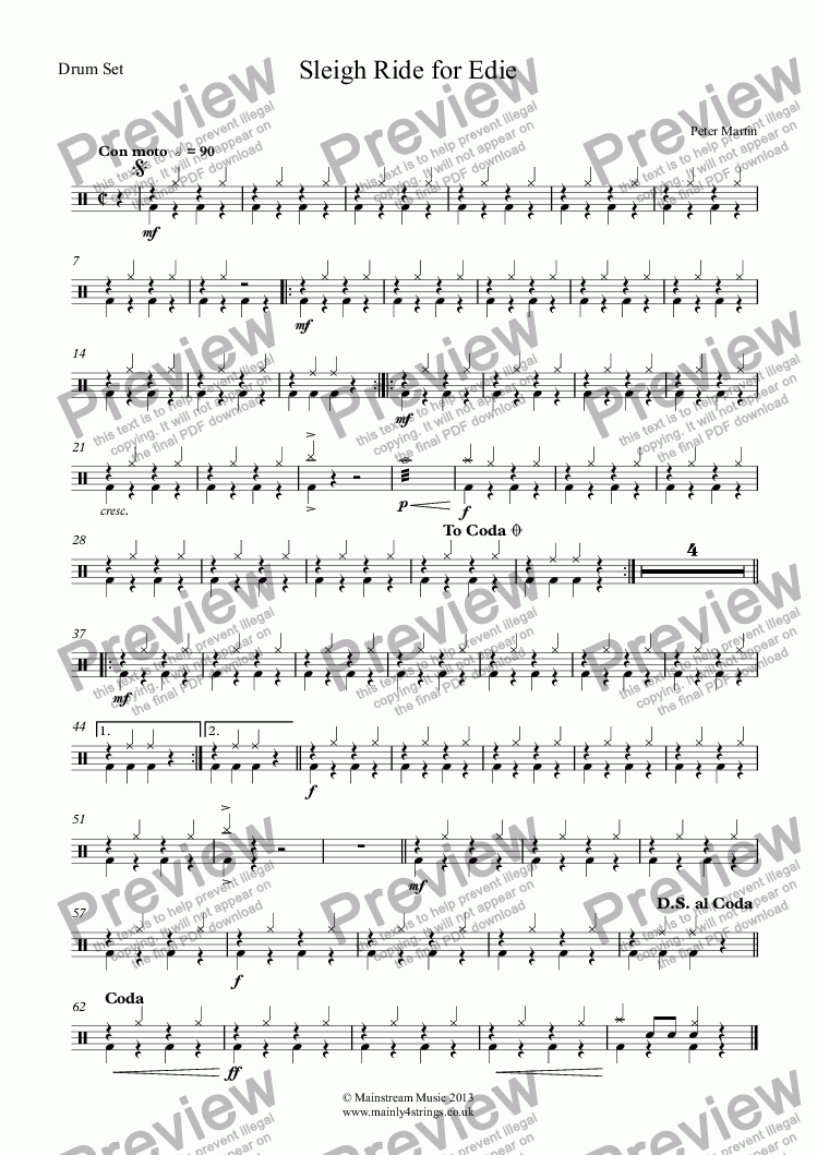 page one of the Drum Set part from Sleigh Ride for Edie