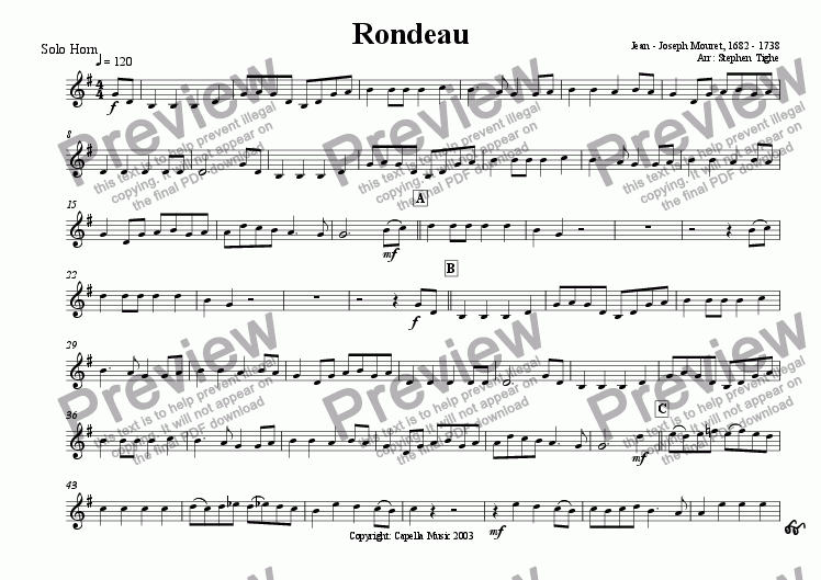 page one of the Solo Horn part from Rondeau