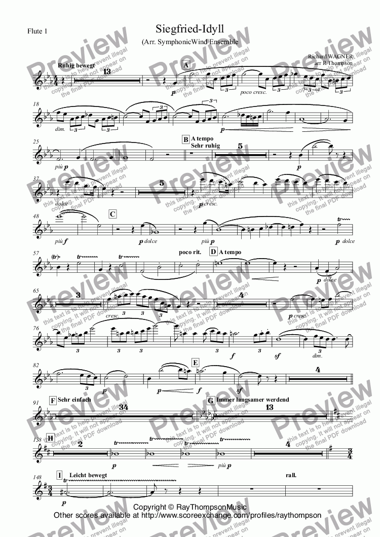 page one of the Flute 1 part from Siegfried-Idyll