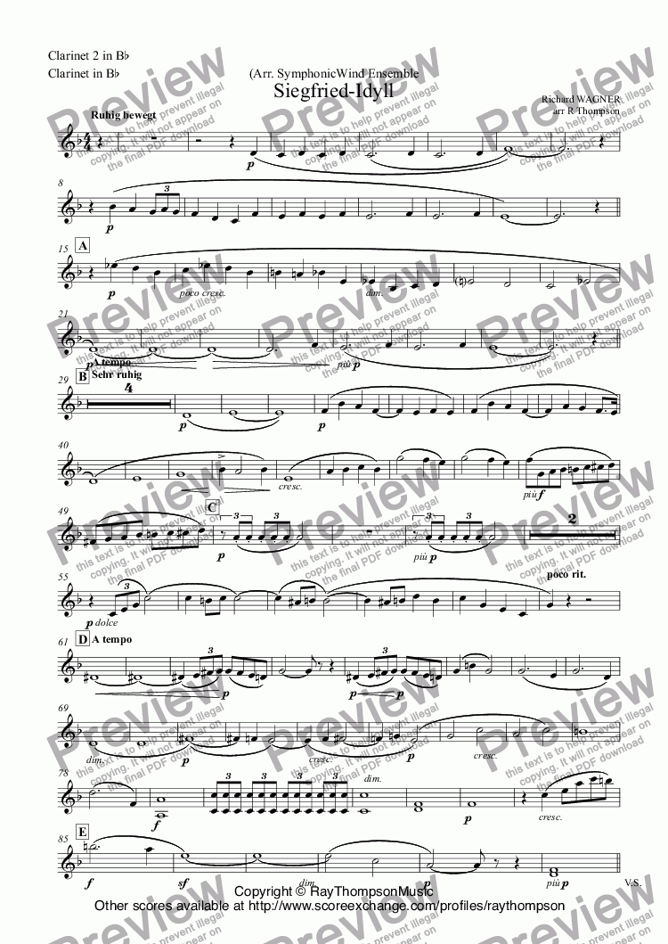page one of the Clarinet 2 in B^b, Clarinet in B^b part from Siegfried-Idyll