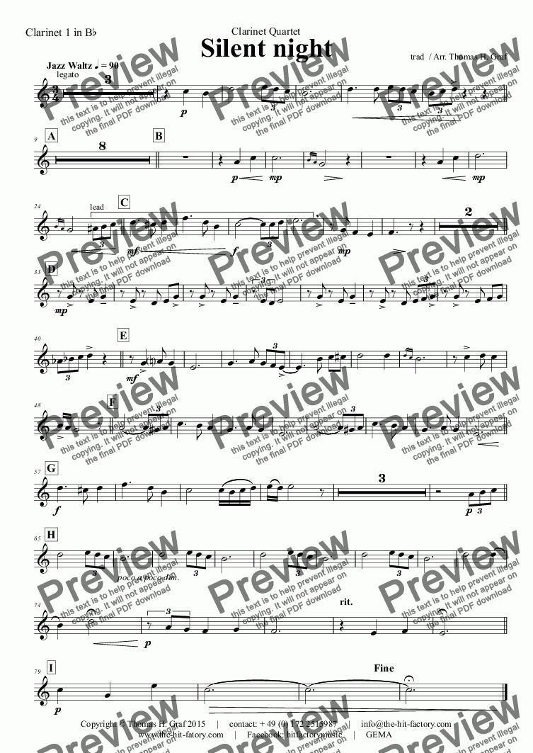 page one of the Clarinet 1 in B^b part from Silent Night - Stille Nacht - Jazz Waltz - Clarinet Quartet