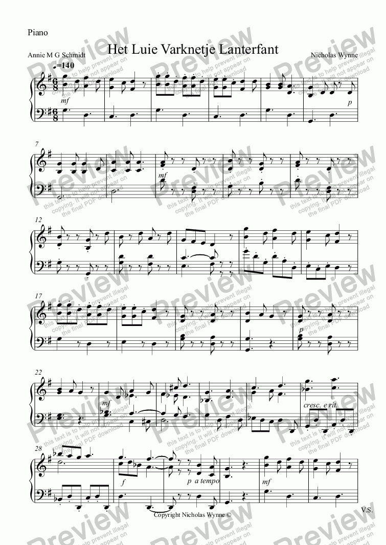 page one of the Piano part from Het Luie Varknetje Lanterfant