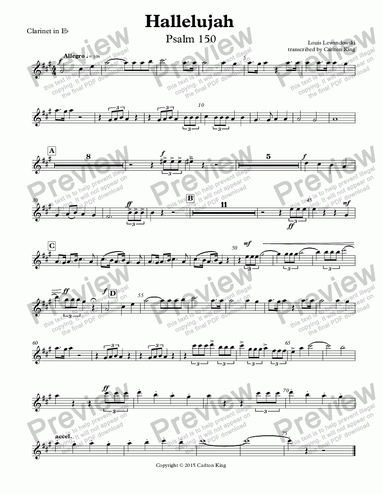 page one of the Clarinet in E^b part from Hallelujah  Psalm 150