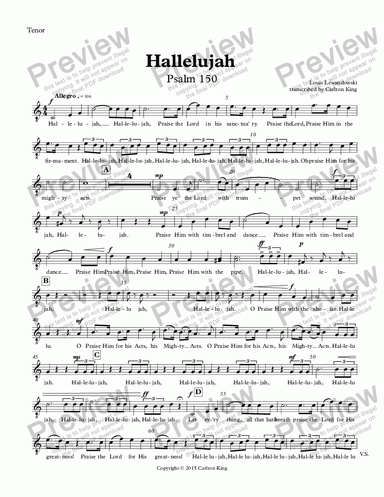 page one of the Tenor part from Hallelujah  Psalm 150