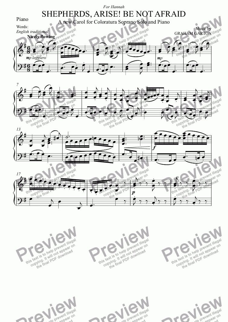 page one of the Piano part from CAROL - 'SHEPHERDS, ARISE! BE NOT AFRAID' A new Carol for Coloratura Soprano Solo and Piano Words: English traditional