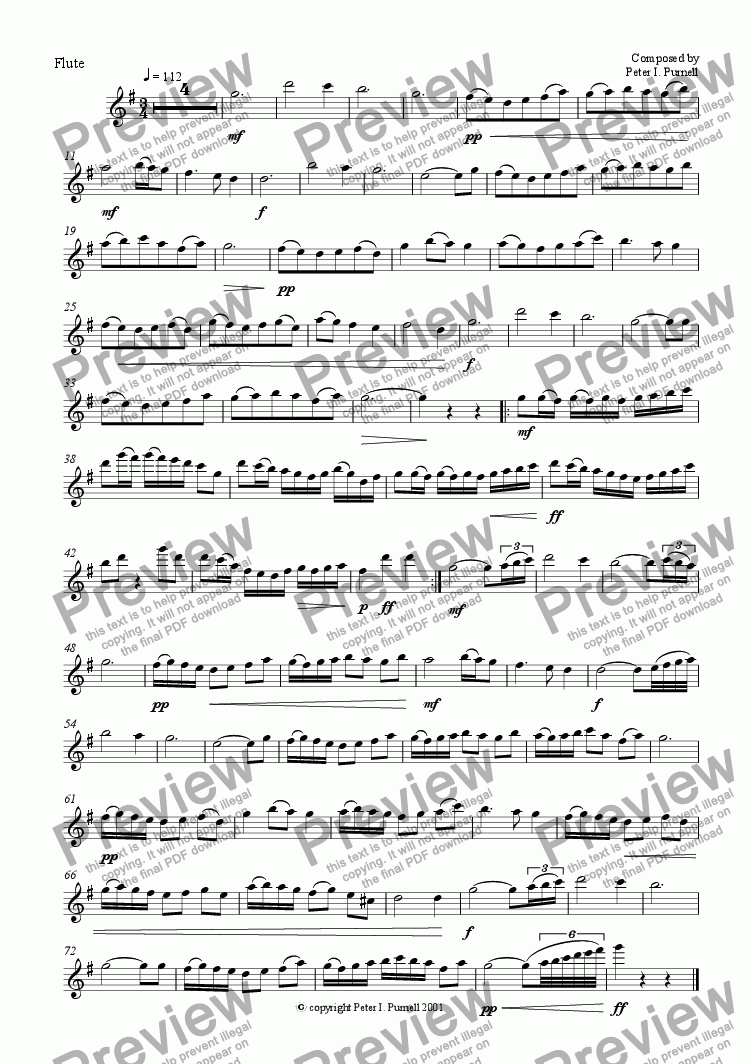 page one of the Flute part from The Jolly Flute