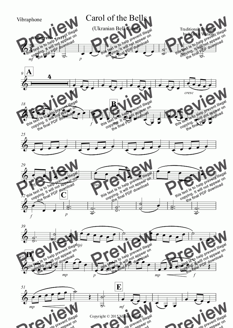 page one of the Vibraphone part from Carol of the Bells (Ukranian Bell Carol for Tuned Percussion Trio