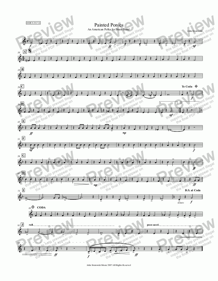 page one of the Horn in F II part from Painted Ponies   (An American Polka for Brass Band)