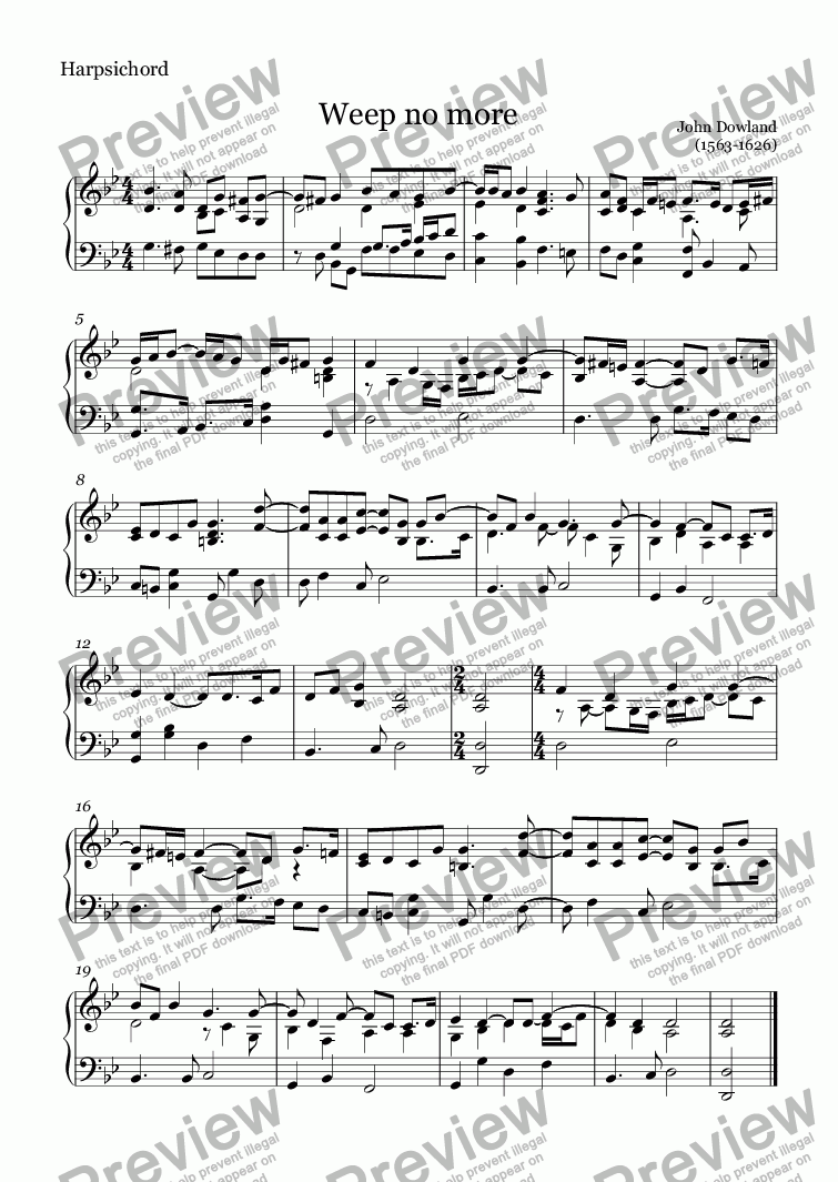 page one of the Harpsichord part from Weep no more (Dowland)