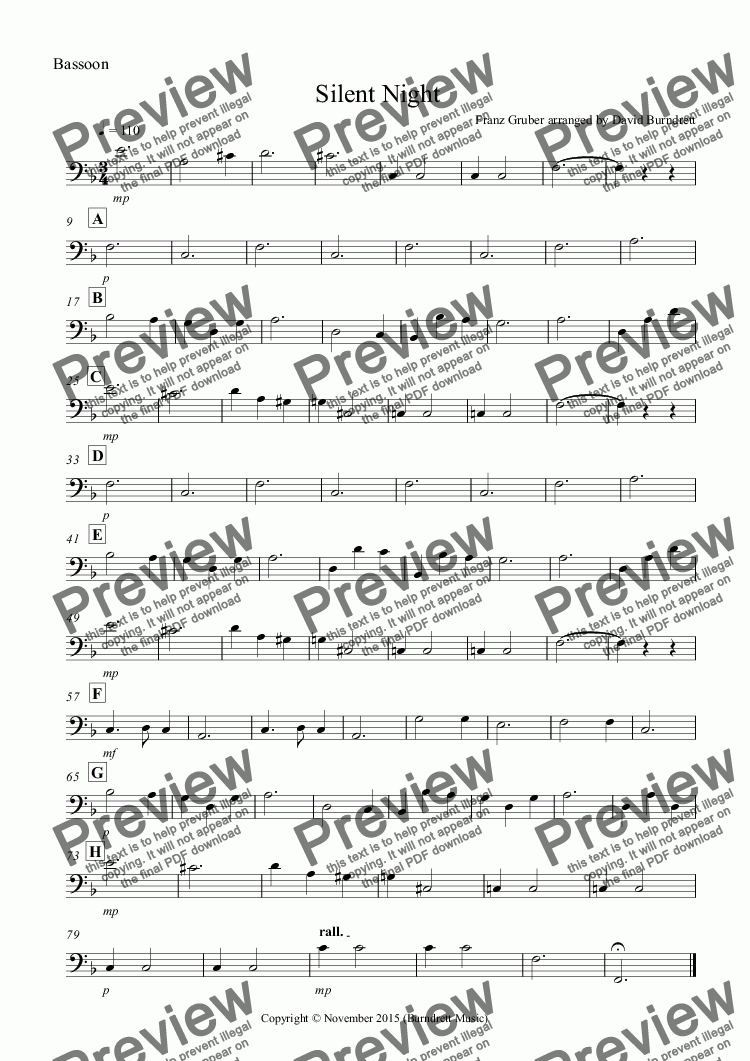 page one of the Bassoon part from Silent Night for Wind Trio