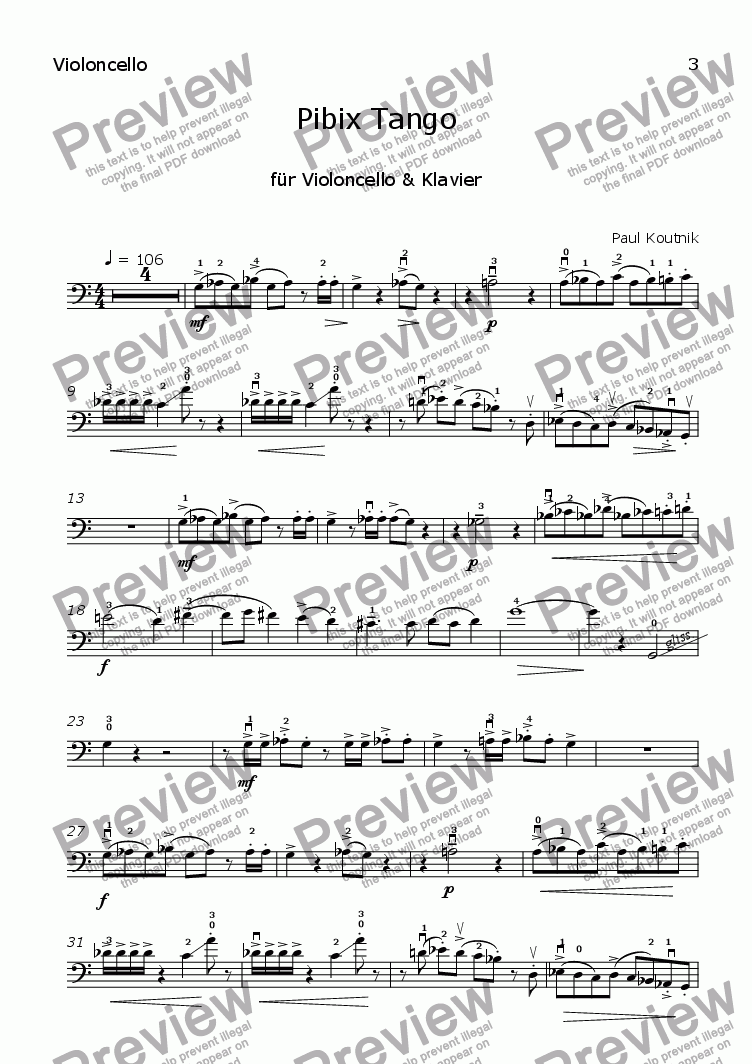 page one of the Violoncello part from Pibix Tango (Vc+Pno)