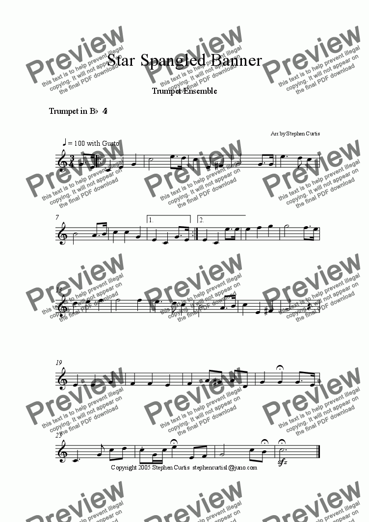 Trumpet 4 part from Star Spangled Banner Trumpet Quintet – Star Spangled Banner Worksheet