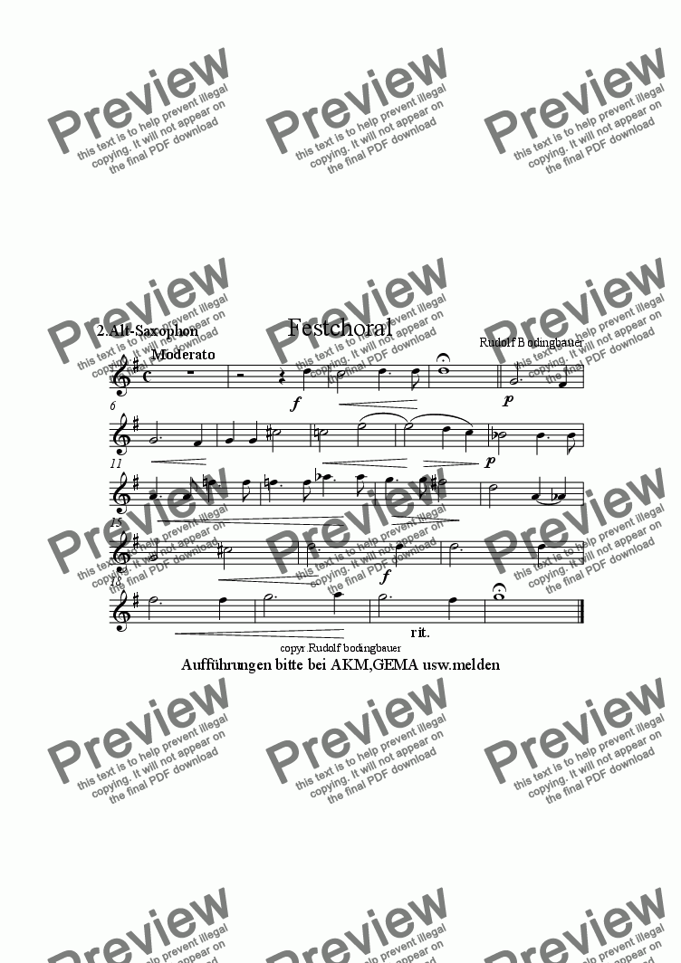 page one of the 2.Altsaxophon in Es part from Festchoral  f�r Blasorchester