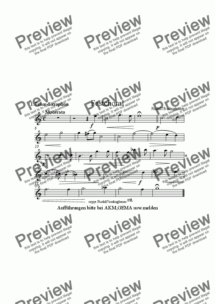 page one of the 1.Tenorsaxophon in B part from Festchoral  f�r Blasorchester