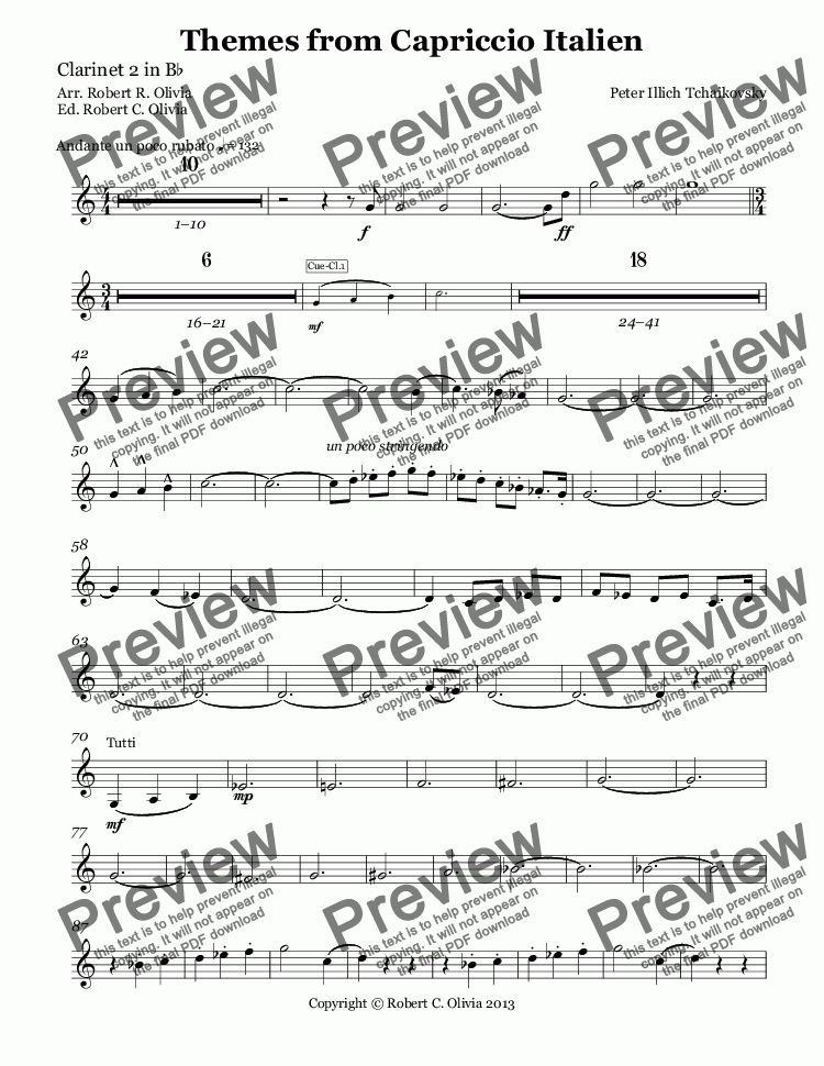 page one of the Clarinet 2 in B^b part from Themes from Capriccio Italien