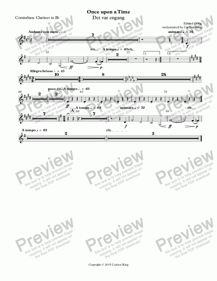page one of the Contrabass Clarinet in B^b part from Once upon a Time (Det var engang)