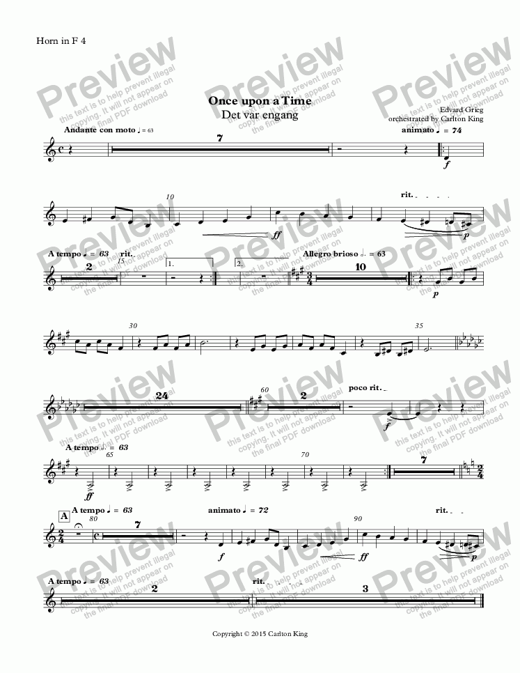 page one of the Horn in F 4 part from Once upon a Time (Det var engang)
