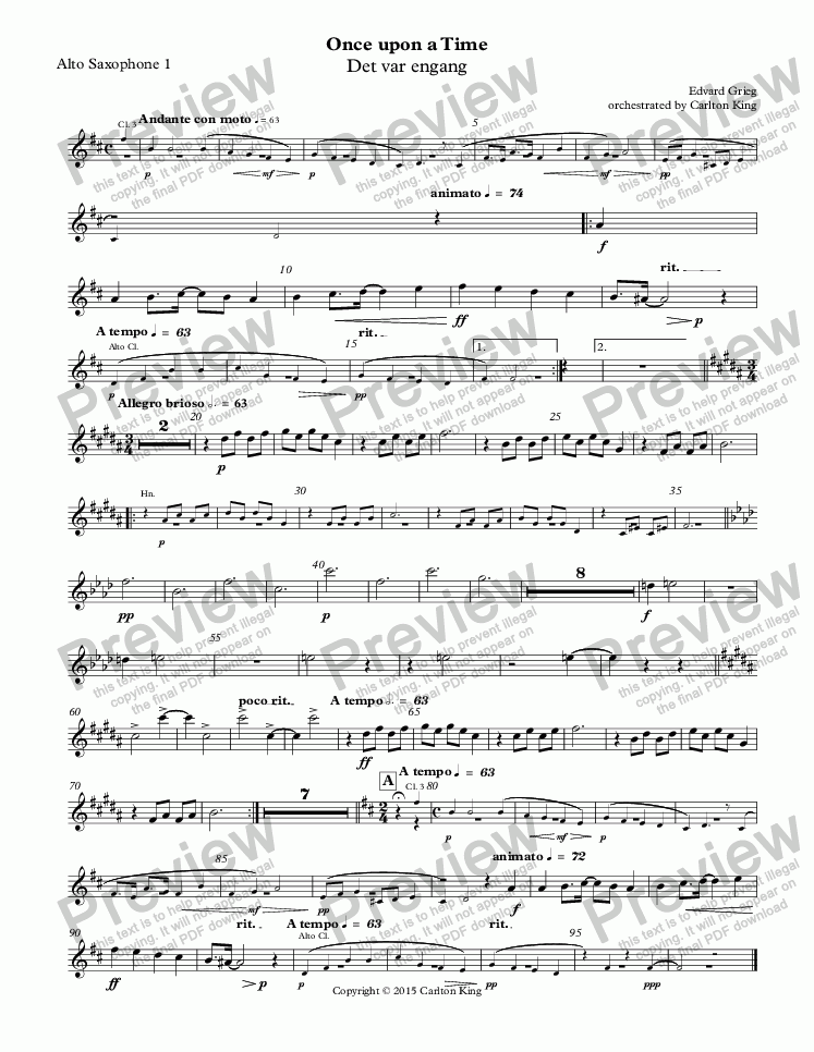 page one of the Alto Saxophone 1 part from Once upon a Time (Det var engang)
