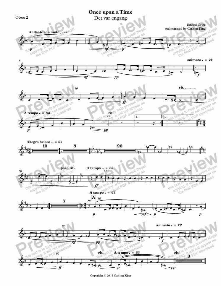 page one of the Oboe 2 part from Once upon a Time (Det var engang)