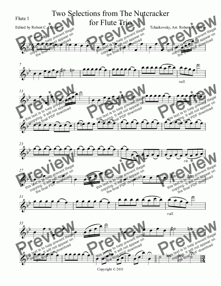 page one of the Flute 1 part from Two Selections from The Nutcracker for Flute Trio