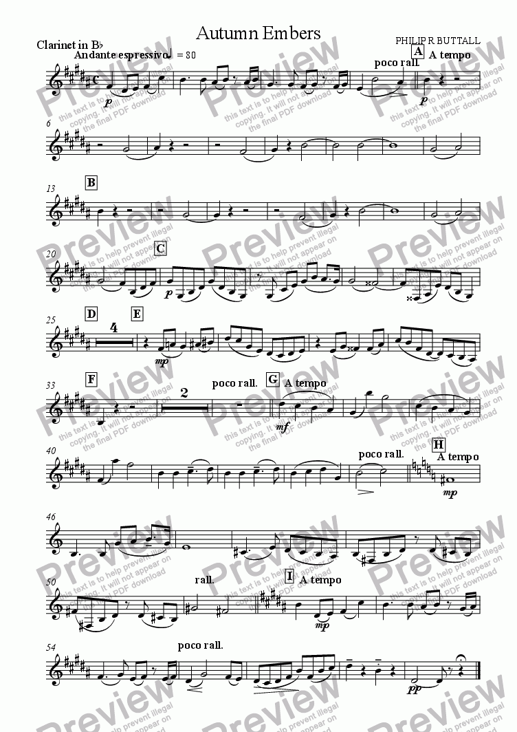 page one of the Clarinet in Bb part from Autumn Embers (Oboe & Orchestra)