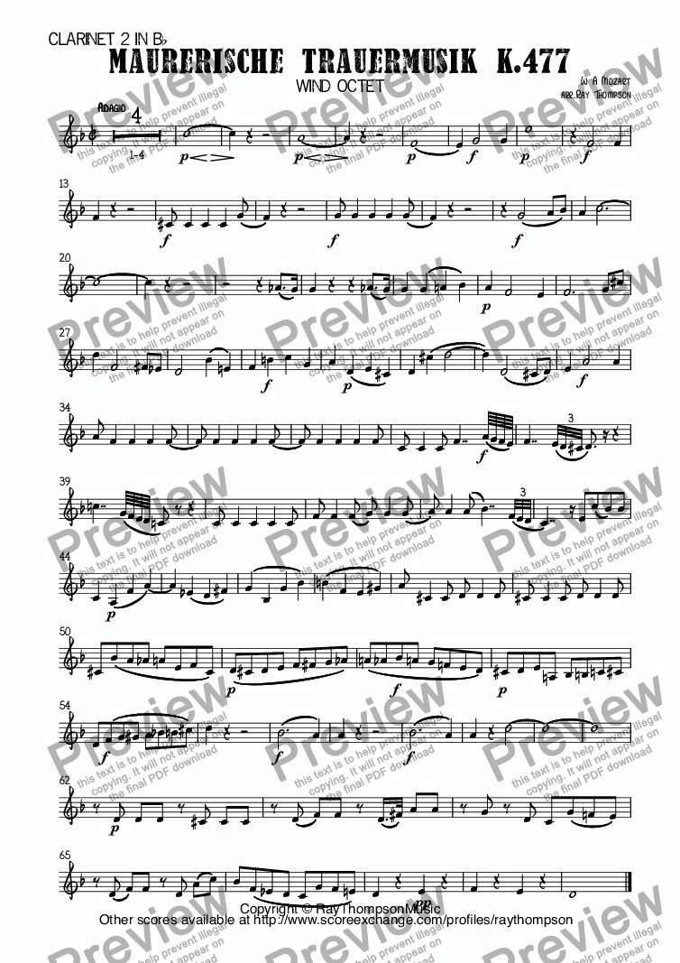 page one of the Clarinet 2 in B^b part from Mozart: Maurerische Trauermusik K.477 (Masonic Funeral Music) arr. wind octet (2 ob, 2 cl, 2 hn, 2 bsn)