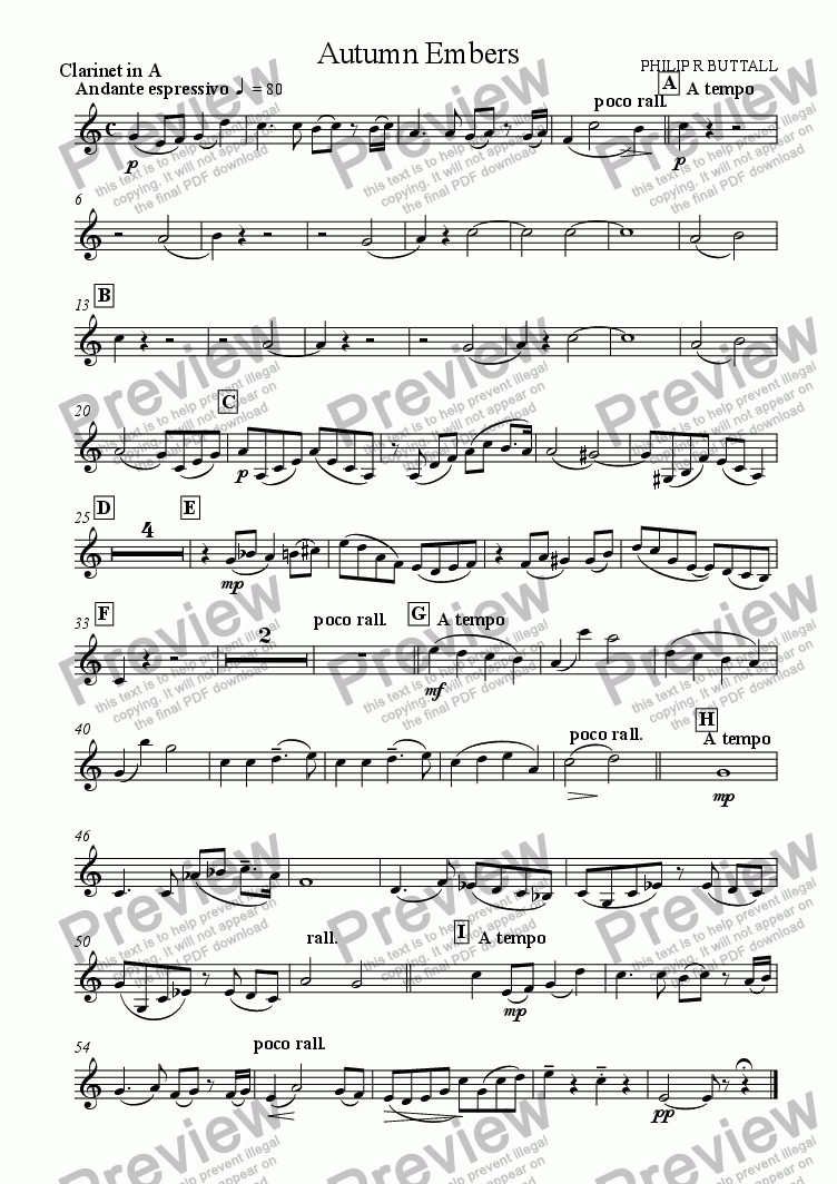 page one of the Clarinet in A part from Autumn Embers (Oboe & Orchestra)