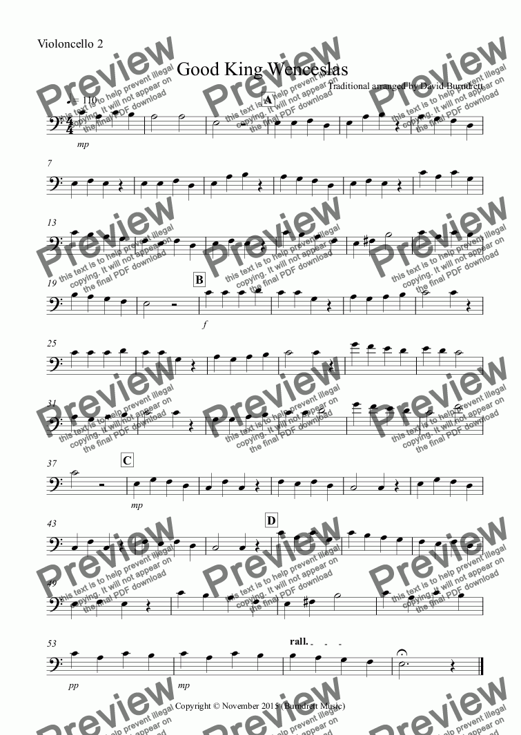 page one of the Violoncello 2 part from Good King Wenceslas for Cello Trio