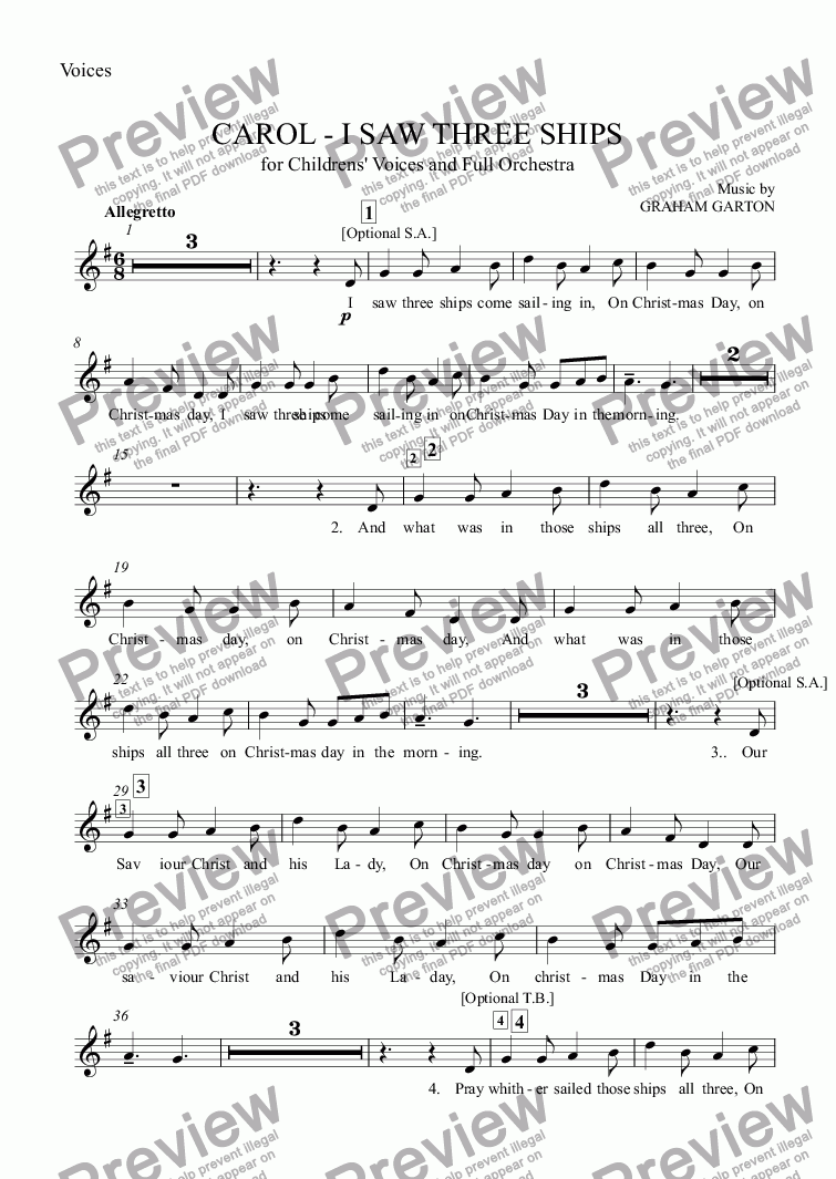 page one of the Voices part from CAROL - 'I SAW THREE SHIPS' Traditional Melody arranged for Unison Childrens' or mixed Voices with Full Orchestra