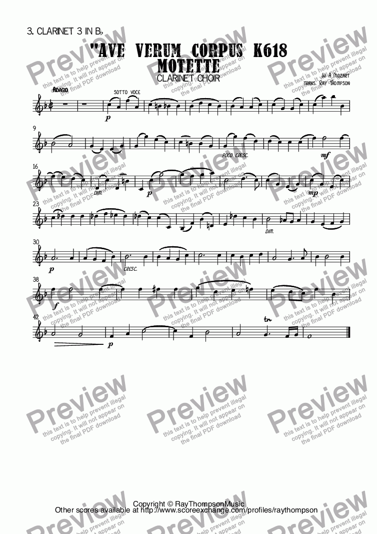 page one of the 3. Clarinet 3 in B^b part from Mozart: Ave Verum Corpus K618 Motette arr clarinet choir (octet)