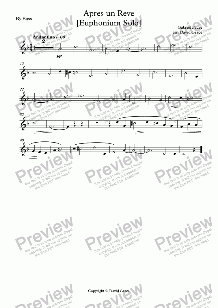 page one of the B^b Bass part from Apres un Reve [Euphonium Solo]