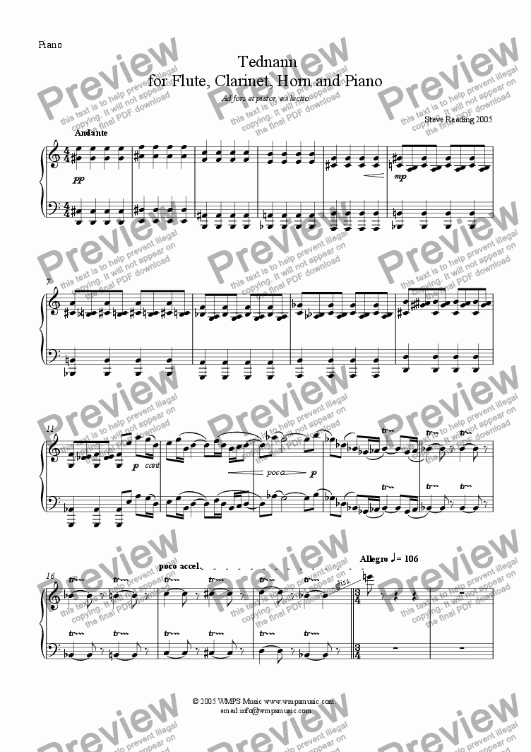 page one of the Piano part from Tednann for Flute, Clarinet, Horn and Harp/Piano (opt.)
