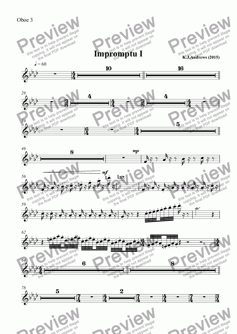 page one of the Oboe 3 part from Impromptu I