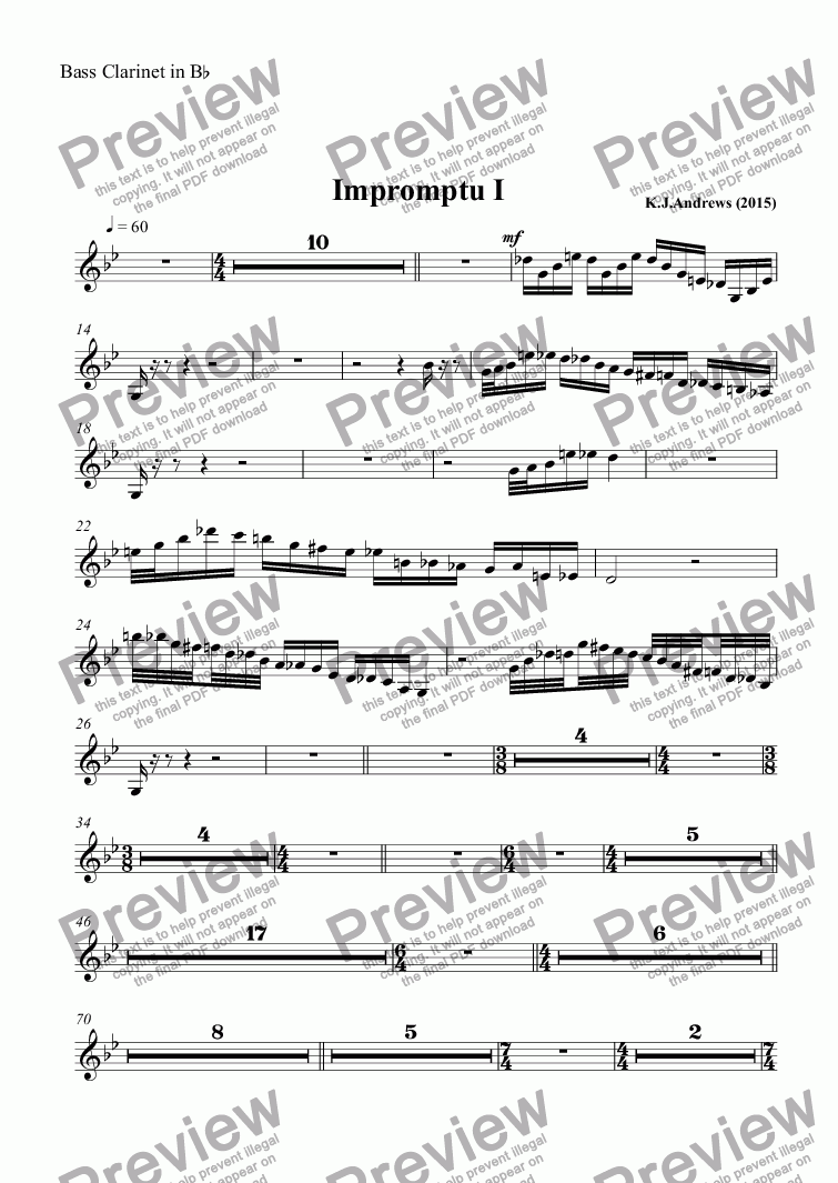 page one of the Bass Clarinet in B^b part from Impromptu I