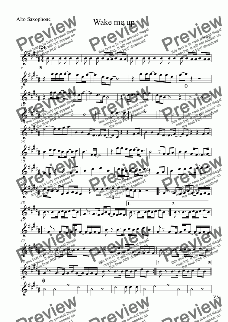 page one of the Alto Saxophone part from Wake me up