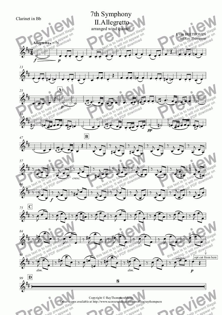 page one of the Clarinet in Bb part from Beethoven: 7th Symphony  Mvt. II.Allegretto arr. wind quintet