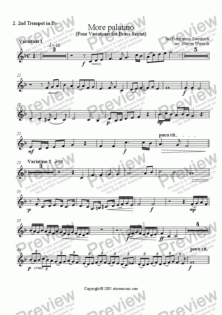 page one of the 2. More Palatino Trumpet 2 in B-flat part from More Palatino (Four Variations for Brass Sextet)