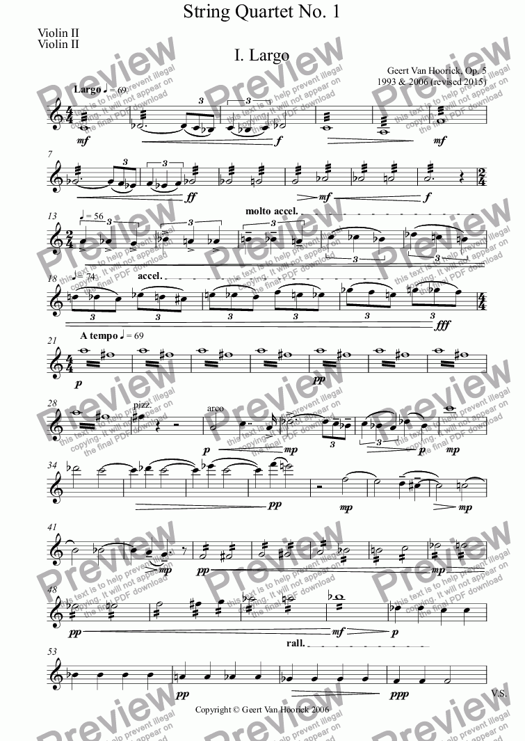 page one of the Violin II part from String quartet No. 1, Op. 5 - I. Largo