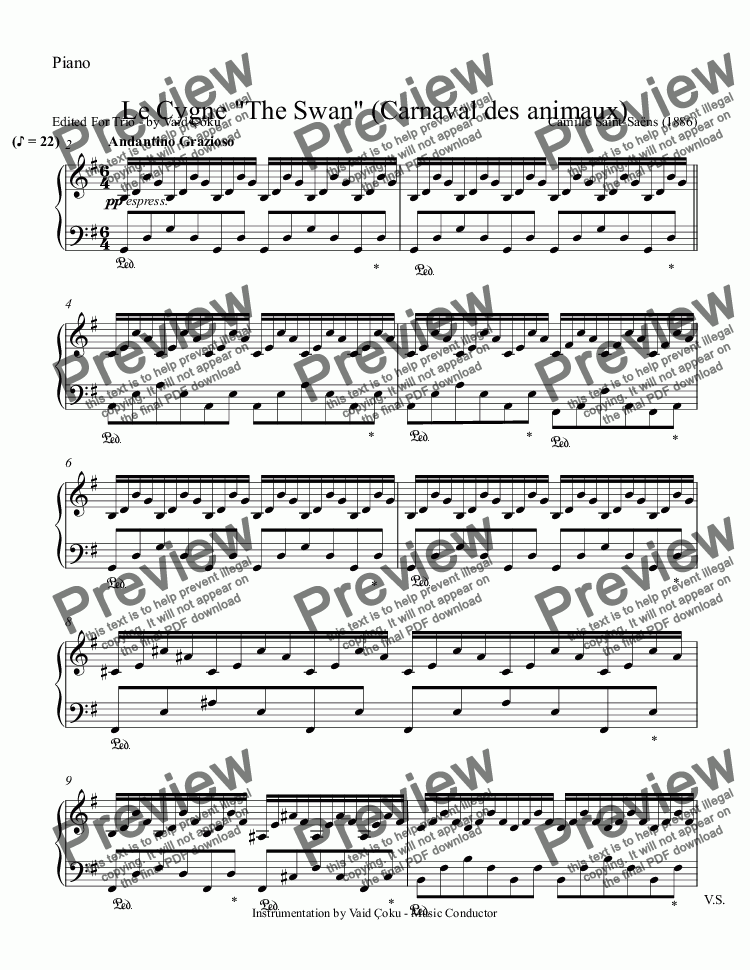 "page one of the Piano part from Le Cygne ""The Swan"" (Carnaval des animaux) for Viole,Violin & Piano"