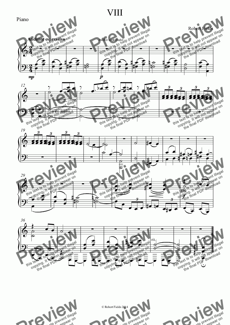 page one of the Piano part from Village Piece VIII