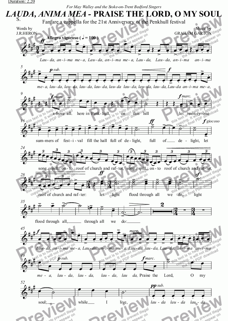 page one of the S. part from ANTHEM - CHORAL FANFARE - LAUDA, ANIMA MEA - PRAISE THE LORD, O MY SOUL. For the 21st Anniversary of the PENKHULL FESTIVAL 1987