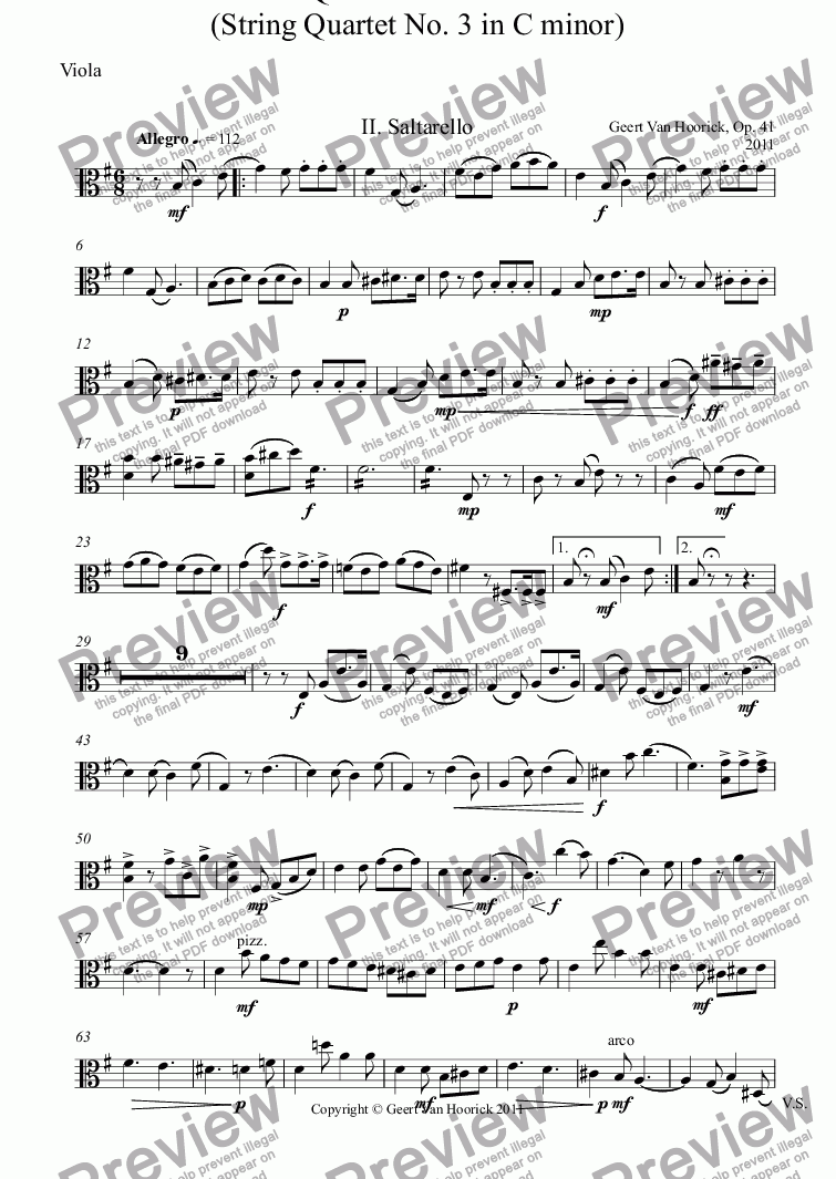 page one of the Viola part from Quartetto Italiano (String quartet No. 3 in C minor), Op. 41 - II. Saltarello