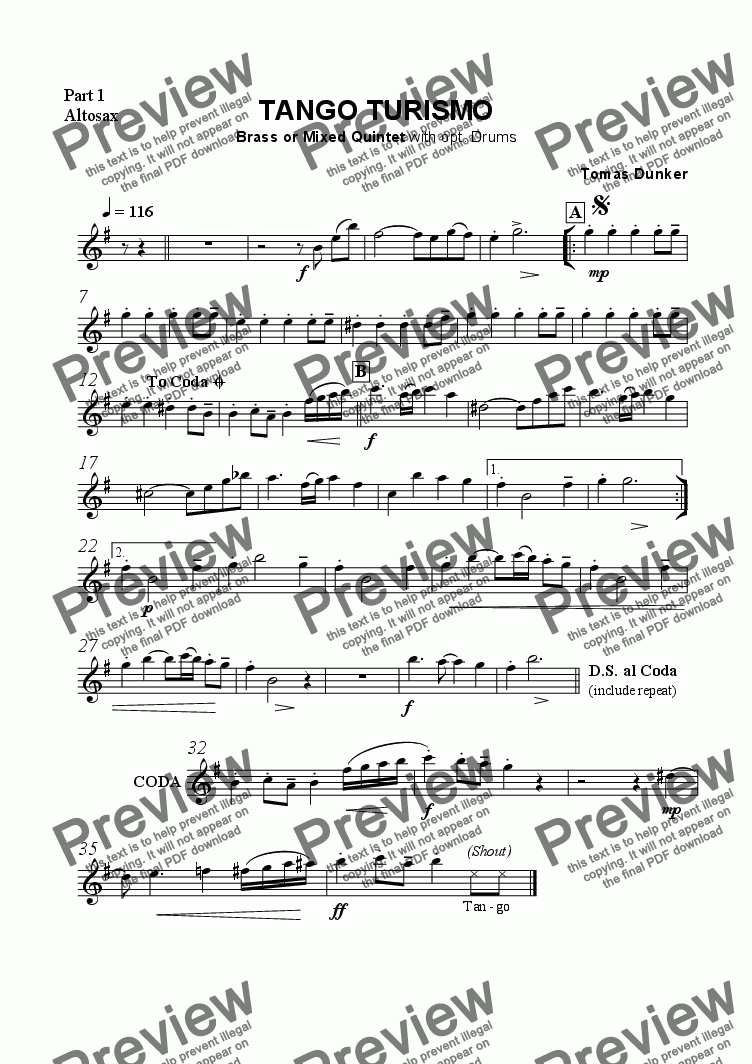 page one of the Altosax (part 1) part from Tango Turismo (Brass/Mix quint)