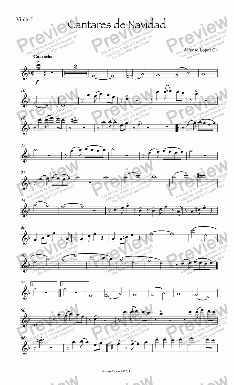 page one of the Violin I part from Cantares de Navidad