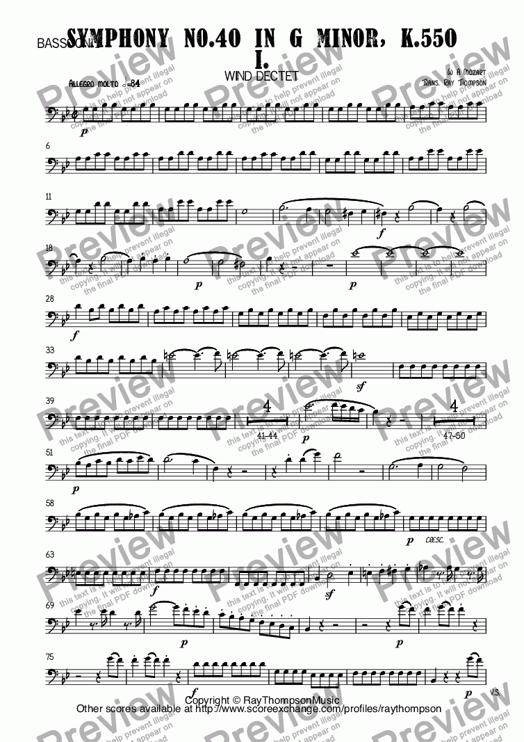 page one of the Bassoon 1 part from Mozart: Symphony No.40 in G minor, K.550 Mvt I. arr. wind dectet (10 players)(Double wind quintet of 2 Fl, 2 Ob, 2 Cl, 2 Hn, 2 Bsn)