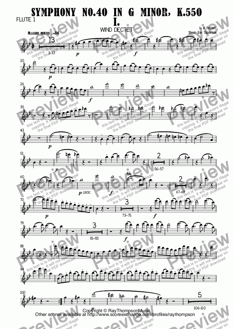 page one of the Flute 1 part from Mozart: Symphony No.40 in G minor, K.550 Mvt I. arr. wind dectet (10 players)(Double wind quintet of 2 Fl, 2 Ob, 2 Cl, 2 Hn, 2 Bsn)