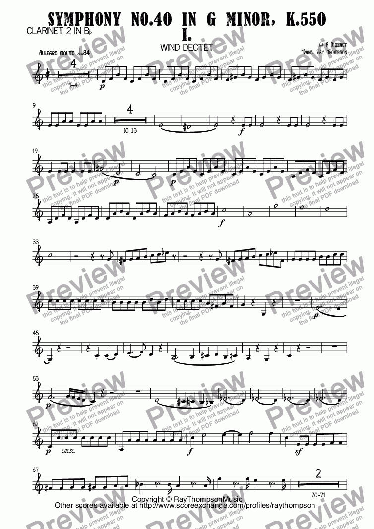 page one of the Clarinet 2 in B^b part from Mozart: Symphony No.40 in G minor, K.550 Mvt I. arr. wind dectet (10 players)(Double wind quintet of 2 Fl, 2 Ob, 2 Cl, 2 Hn, 2 Bsn)