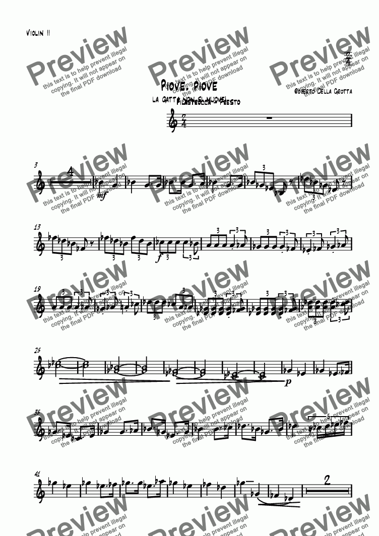 page one of the Violin II part from Piove, Piove